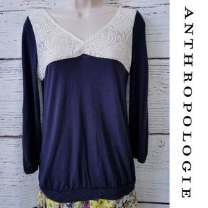 Anthropologie Postmark Loulou Lace Blouse Top